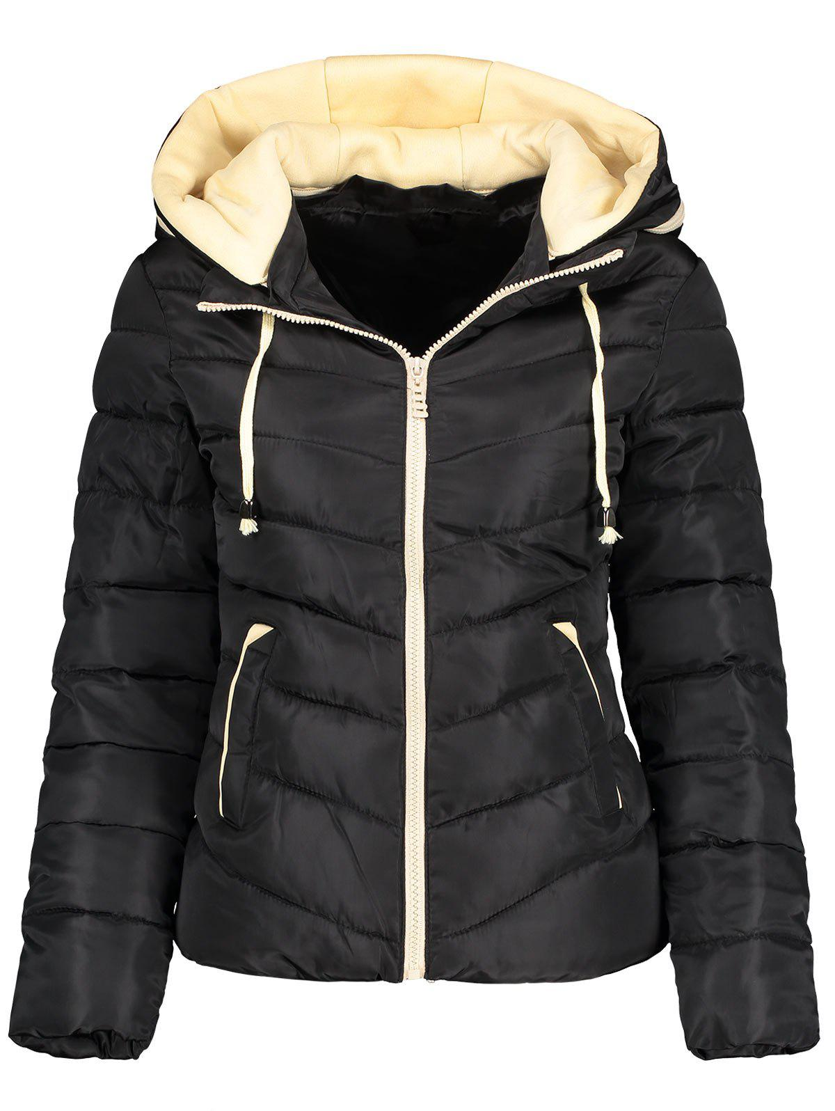 Hooded Drawstring Padded Quilted JacketWOMEN<br><br>Size: 2XL; Color: BLACK; Clothes Type: Padded; Material: Polyester; Type: Slim; Shirt Length: Regular; Sleeve Length: Full; Collar: Hooded; Pattern Type: Solid; Style: Fashion; Season: Fall,Spring; Weight: 0.6700kg; Package Contents: 1 x Jacket;