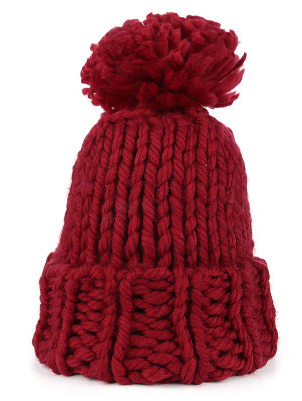 Online Outdoor Straight Needle Thick Lines Knitting Beanie