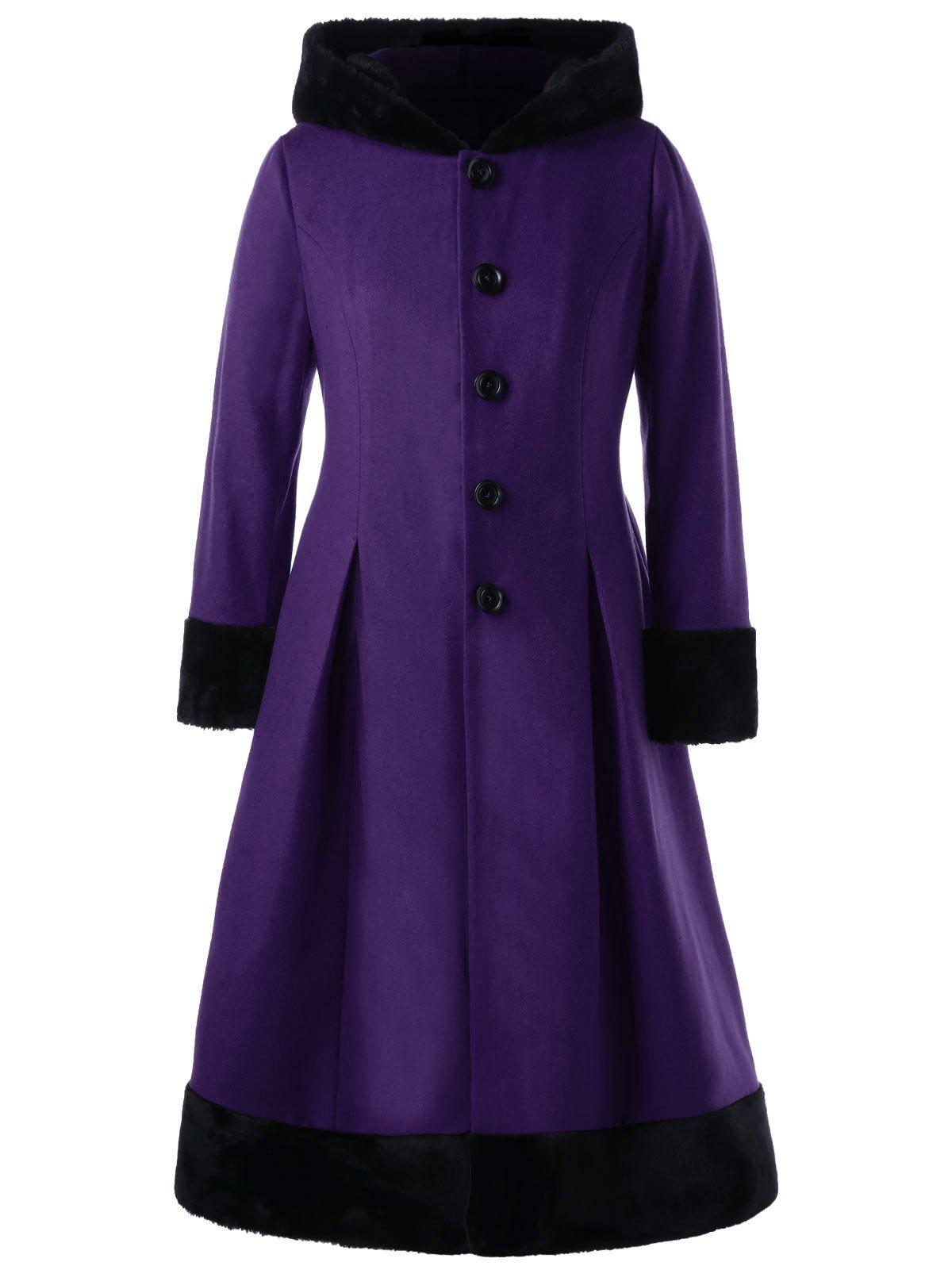 Plus Size Faux Fur Hooded Button Up Dress CoatWOMEN<br><br>Size: 4XL; Color: PURPLE; Clothes Type: Wool &amp; Blends; Material: Polyester,Wool; Type: Slim; Shirt Length: Long; Sleeve Length: Full; Collar: Hooded; Pattern Type: Solid; Style: Vintage; Season: Fall,Spring; Weight: 1.2000kg; Package Contents: 1 x Coat;