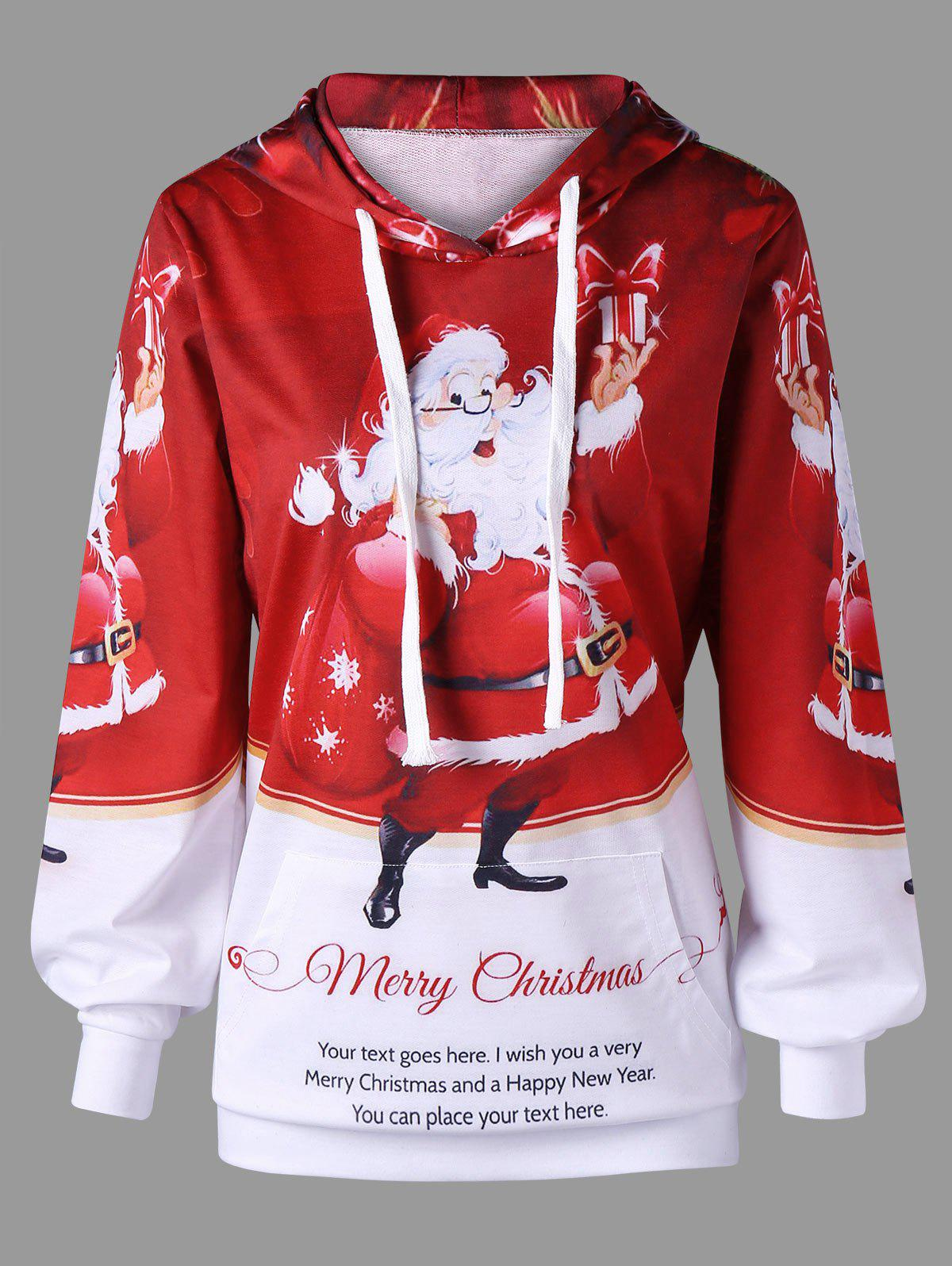 Santa Claus Print Kangaroo Pocket Christmas HoodieWOMEN<br><br>Size: M; Color: RED AND WHITE; Material: Polyester,Spandex; Shirt Length: Regular; Sleeve Length: Full; Style: Active; Pattern Style: Print; Embellishment: Front Pocket; Elasticity: Micro-elastic; Season: Fall,Spring,Winter; Weight: 0.3200kg; Package Contents: 1 x Hoodie;