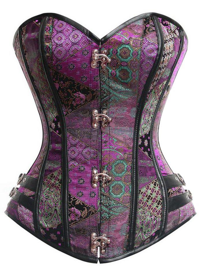 Vintage Underbust Brocade Lace-up CorsetWOMEN<br><br>Size: 2XL; Color: PURPLE; Material: Polyester,Spandex; Pattern Type: Others; Embellishment: Criss-Cross; Weight: 0.3500kg; Package Contents: 1 x Corset  1 x T Back;