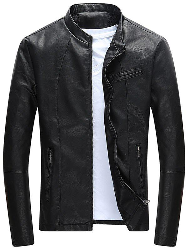 Casual Full Zip PU Leather JacketMEN<br><br>Size: 3XL; Color: BLACK; Clothes Type: Leather &amp; Suede; Style: Casual; Material: Polyester,PU; Collar: Stand Collar; Shirt Length: Regular; Sleeve Length: Long Sleeves; Season: Fall,Winter; Closure Type: Zipper; Occasion: Casual,Going Out; Weight: 0.8500kg; Package Contents: 1 x Jacket;