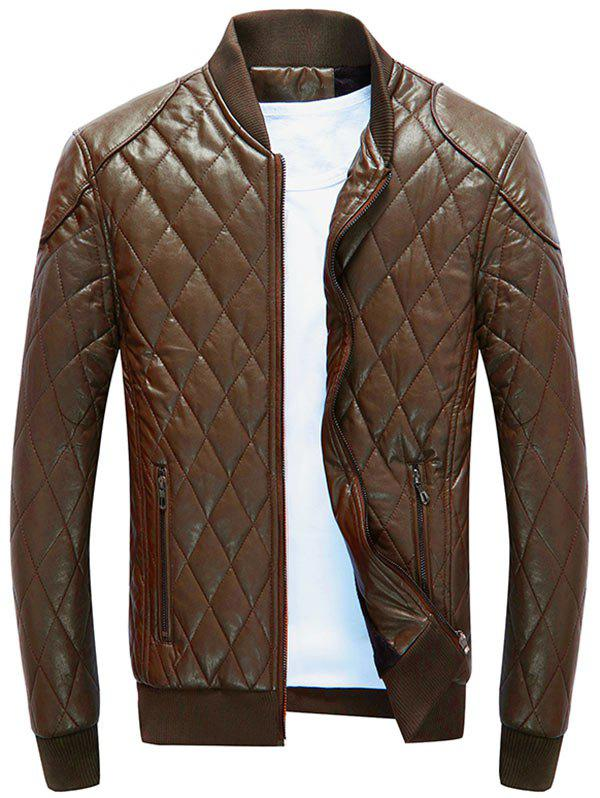 Discount Casual Diamond Faux Leather Bomber Jacket