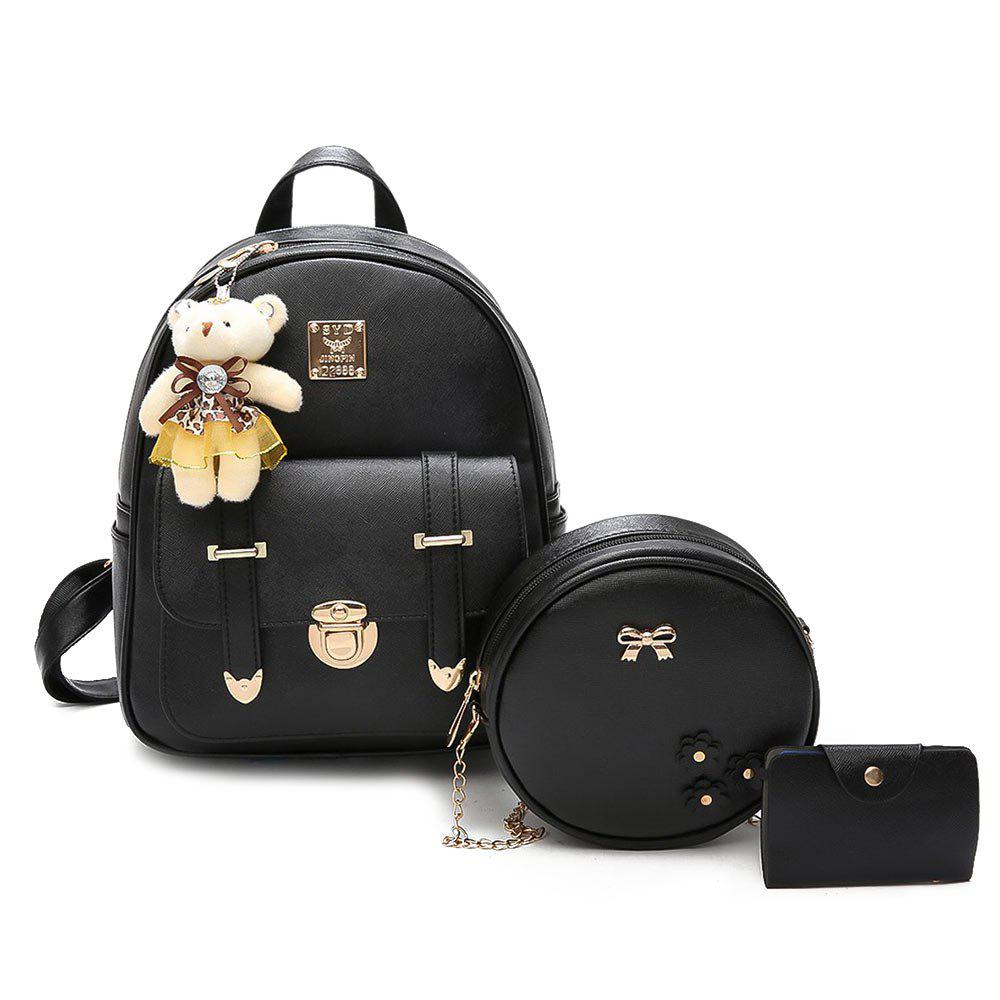 Outfit Bow 3 Pieces Metal Backpack Set