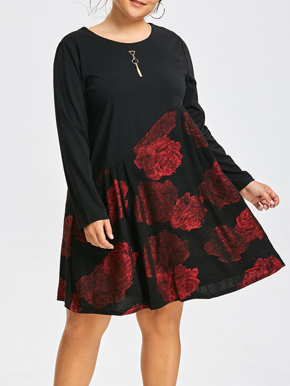 Bronzing Floral Panel Plus Size Long Sleeve DressWOMEN<br><br>Size: 5XL; Color: WINE RED; Style: Cute; Material: Polyester,Spandex; Silhouette: Straight; Dresses Length: Knee-Length; Neckline: Round Collar; Sleeve Length: Long Sleeves; Pattern Type: Floral; With Belt: No; Season: Fall,Spring; Weight: 0.5150kg; Package Contents: 1 x Dress;