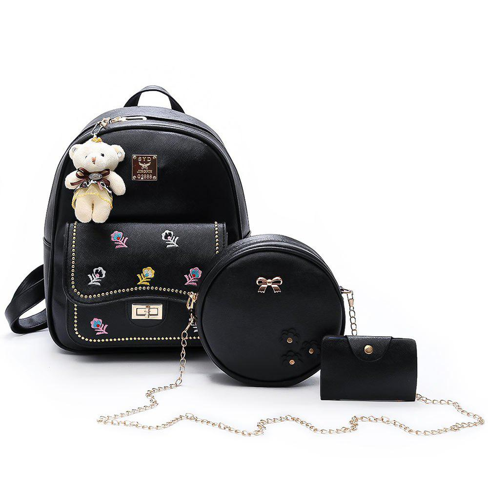 3 Pieces Flower Print Backpack SetSHOES &amp; BAGS<br><br>Color: BLACK; Handbag Type: Backpack; Style: Fashion; Gender: For Women; Embellishment: Flowers; Pattern Type: Floral; Handbag Size: Small(20-30cm); Closure Type: Zipper; Occasion: Versatile; Main Material: PU; Weight: 0.7700kg; Package Contents: 1 x Backpack, 1 x Crossbody Bag, 1 x Card Case;