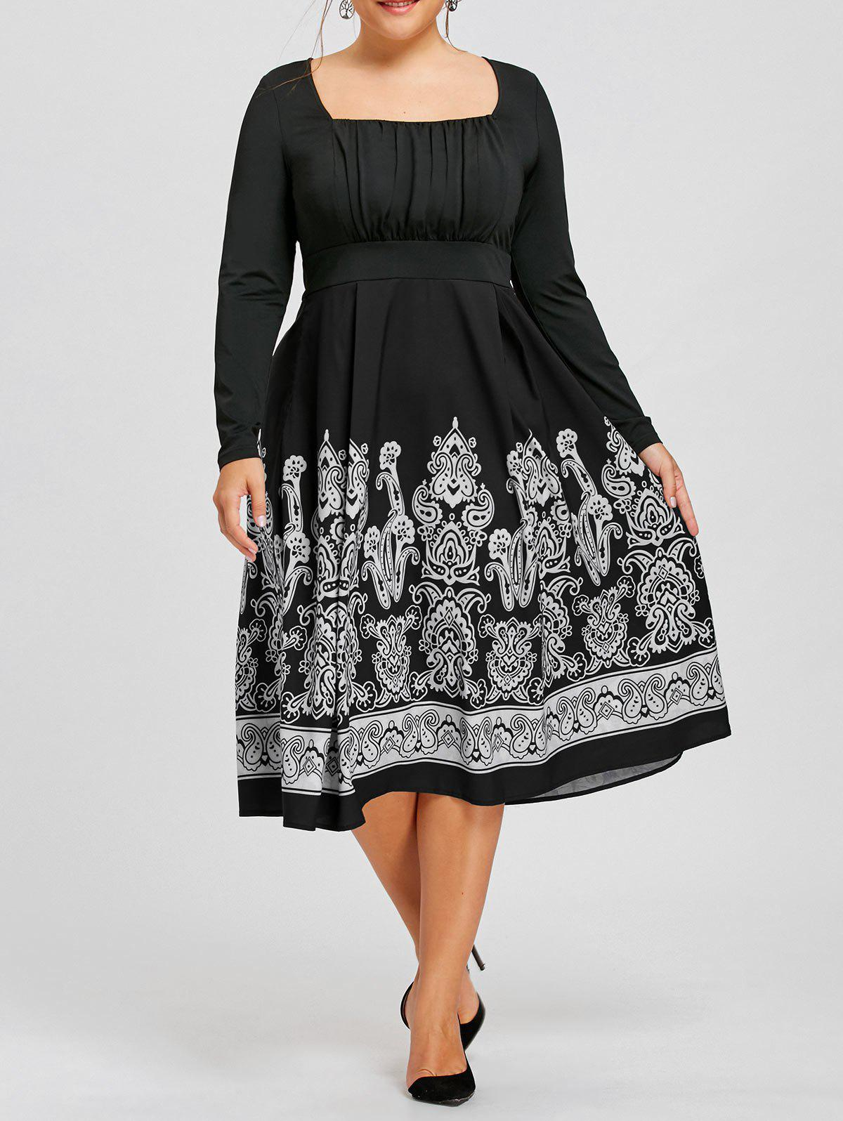 Plus Size Long Sleeve Paisley Print Midi DressWOMEN<br><br>Size: 5XL; Color: BLACK; Style: Brief; Material: Polyester,Spandex; Silhouette: A-Line; Dresses Length: Mid-Calf; Neckline: Square Collar; Sleeve Length: Long Sleeves; Embellishment: Ruched; Pattern Type: Paisley; With Belt: No; Season: Fall,Spring; Weight: 0.3730kg; Package Contents: 1 x Dress;