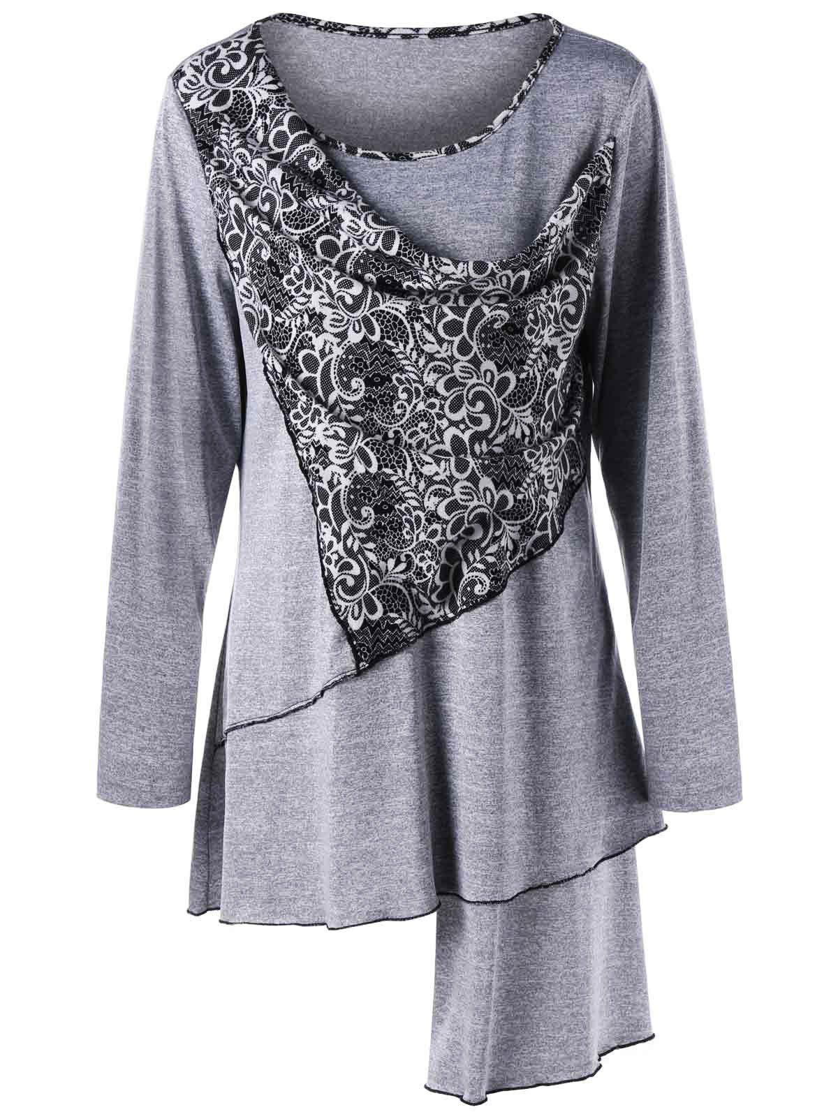 Plus Size Bandana Floral Asymmetric Tunic TopWOMEN<br><br>Size: 4XL; Color: LIGHT GRAY; Material: Polyester,Spandex; Shirt Length: Long; Sleeve Length: Full; Collar: Scoop Neck; Style: Casual; Season: Fall,Spring; Pattern Type: Floral; Weight: 0.3100kg; Package Contents: 1 x Top;
