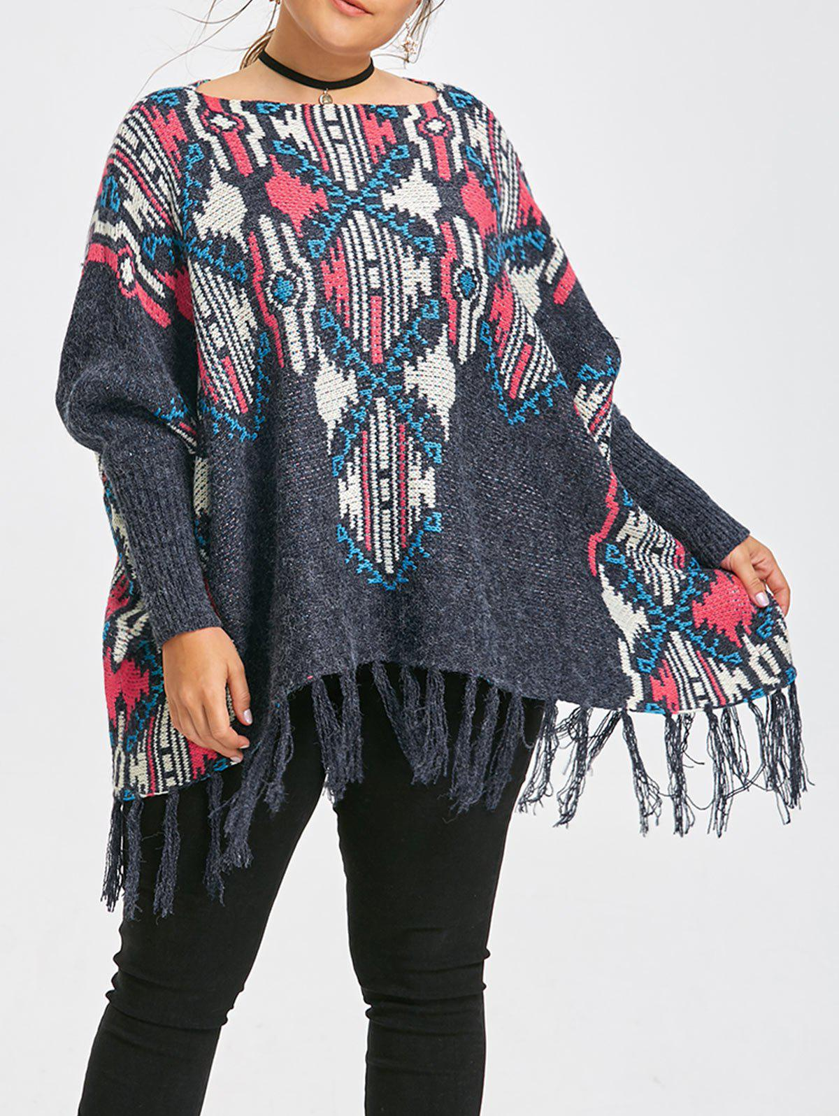 Hot Geometric Print Fringe Plus Size Cape Sweater