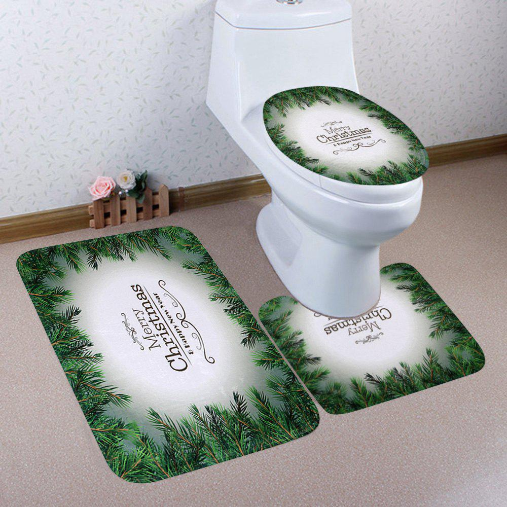 New Christmas Letter Print Coral Fleece 3Pcs Bath Toilet Rugs Set