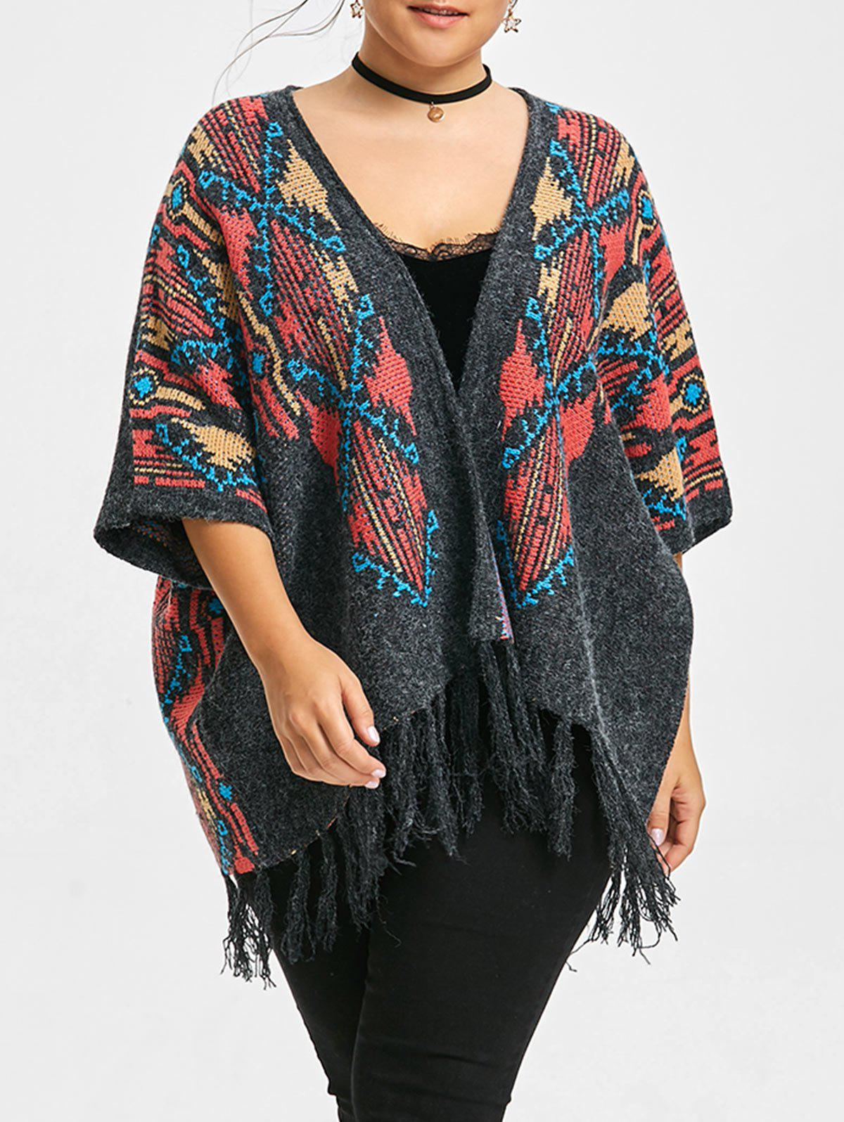 Fringe Plus Size Cape Sweater CardiganWOMEN<br><br>Size: ONE SIZE; Color: DARK GRAY; Type: Cardigans; Material: Polyester,Spandex; Sleeve Length: Three Quarter; Collar: Collarless; Style: Fashion; Season: Fall,Winter; Pattern Type: Geometric; Weight: 0.6050kg; Package Contents: 1 x Cardigan;