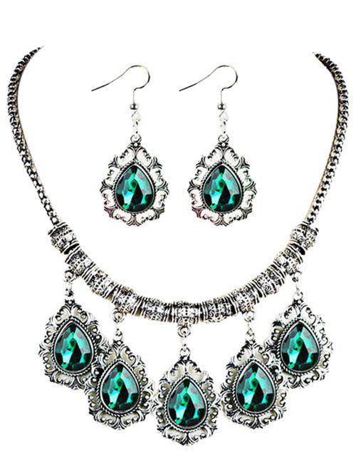 Vintage Water Drop Shape Embellished Artifical Gem Necklace Earrings SetJEWELRY<br><br>Color: GREEN; Item Type: Chokers Necklace; Gender: For Women; Style: Trendy; Shape/Pattern: Water Drop; Weight: 0.0550kg; Package Contents: 1 x Necklace 1 x Earrings (Pair);