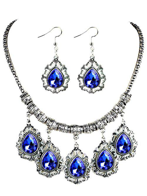 Vintage Water Drop Shape Embellished Artifical Gem Necklace Earrings SetJEWELRY<br><br>Color: BLUE; Item Type: Chokers Necklace; Gender: For Women; Style: Trendy; Shape/Pattern: Water Drop; Weight: 0.0550kg; Package Contents: 1 x Necklace 1 x Earrings (Pair);