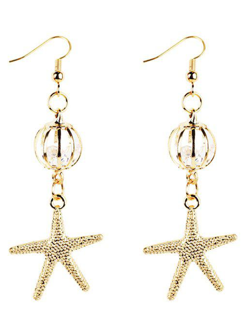 Vintage Golden Starfish Embellished Drop Earrings