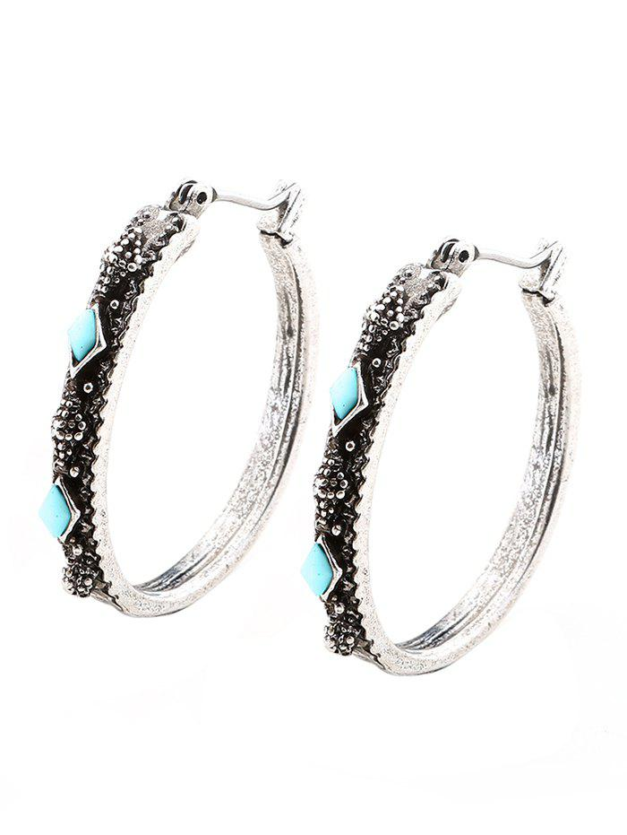 Faux Turquoise Geometric Vintage Hoop EarringsJEWELRY<br><br>Color: SILVER; Earring Type: Hoop Earrings; Gender: For Women; Style: Trendy; Shape/Pattern: Geometric; Length: 3CM; Weight: 0.0090kg; Package Contents: 1 x Earring (Pair);