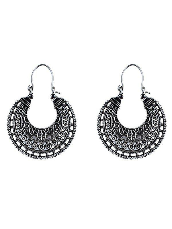 Vintage U Shape Coin Decorated Ethnic Style EarringsJEWELRY<br><br>Color: SILVER; Earring Type: Hoop Earrings; Gender: For Girls,For Women; Style: Trendy; Shape/Pattern: Others; Weight: 0.0200kg; Package Contents: 1 x Earring (Pair);
