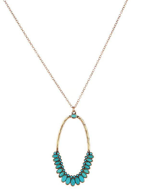 Faux Turquoise Bohemian Oval Pendant NecklaceJEWELRY<br><br>Color: GOLDEN; Item Type: Pendant Necklace; Gender: For Women; Necklace Type: Link Chain; Style: Trendy; Shape/Pattern: Geometric; Length: 55CM; Weight: 0.0210kg; Package Contents: 1 x Necklace;