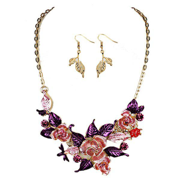 Vintage Rhinestone Leaf Flower Jewelry SetJEWELRY<br><br>Color: PURPLE; Item Type: Pendant Necklace; Gender: For Women; Necklace Type: Link Chain; Style: Trendy; Shape/Pattern: Floral; Length: 44CM (Necklace)/4.5cm (Earring); Weight: 0.0740kg; Package Contents: 1 x Necklace 1 x Earring (Pair);
