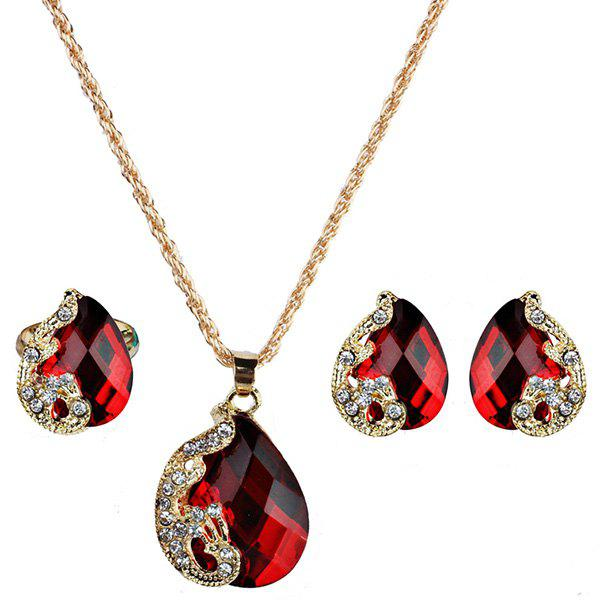 Faux Gemstone Peacock Teardrop Jewelry SetJEWELRY<br><br>Color: RED; Item Type: Pendant Necklace; Gender: For Women; Necklace Type: Link Chain; Material: Rhinestone; Style: Trendy; Shape/Pattern: Animal; Weight: 0.0420kg; Package Contents: 1 x Necklace 1 x Earring (Pair) 1 x Ring;