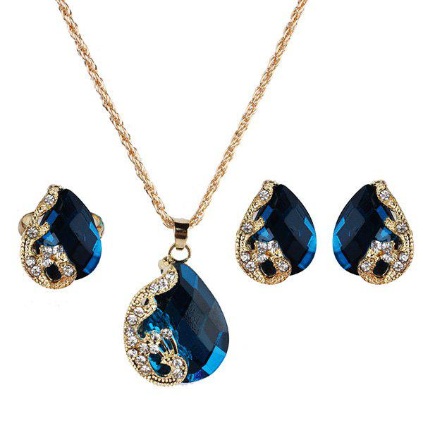 Affordable Faux Gemstone Peacock Teardrop Jewelry Set
