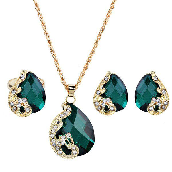 Faux Gemstone Peacock Teardrop Jewelry SetJEWELRY<br><br>Color: GREEN; Item Type: Pendant Necklace; Gender: For Women; Necklace Type: Link Chain; Material: Rhinestone; Style: Trendy; Shape/Pattern: Animal; Weight: 0.0420kg; Package Contents: 1 x Necklace 1 x Earring (Pair) 1 x Ring;
