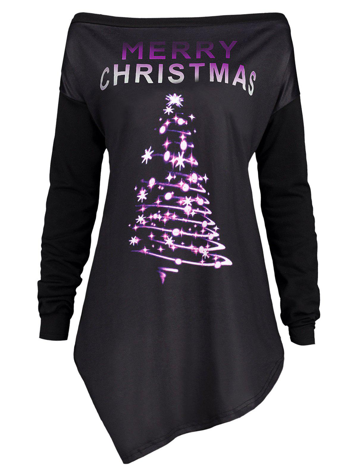 Merry Christmas Plus Size Irregular Tunic T-shirtWOMEN<br><br>Size: 2XL; Color: PURPLE; Material: Polyester,Spandex; Shirt Length: Regular; Sleeve Length: Full; Collar: Off The Shoulder; Style: Casual; Season: Fall,Spring,Winter; Pattern Type: Print; Elasticity: Micro-elastic; Weight: 0.4100kg; Package Contents: 1 x T-shirt;