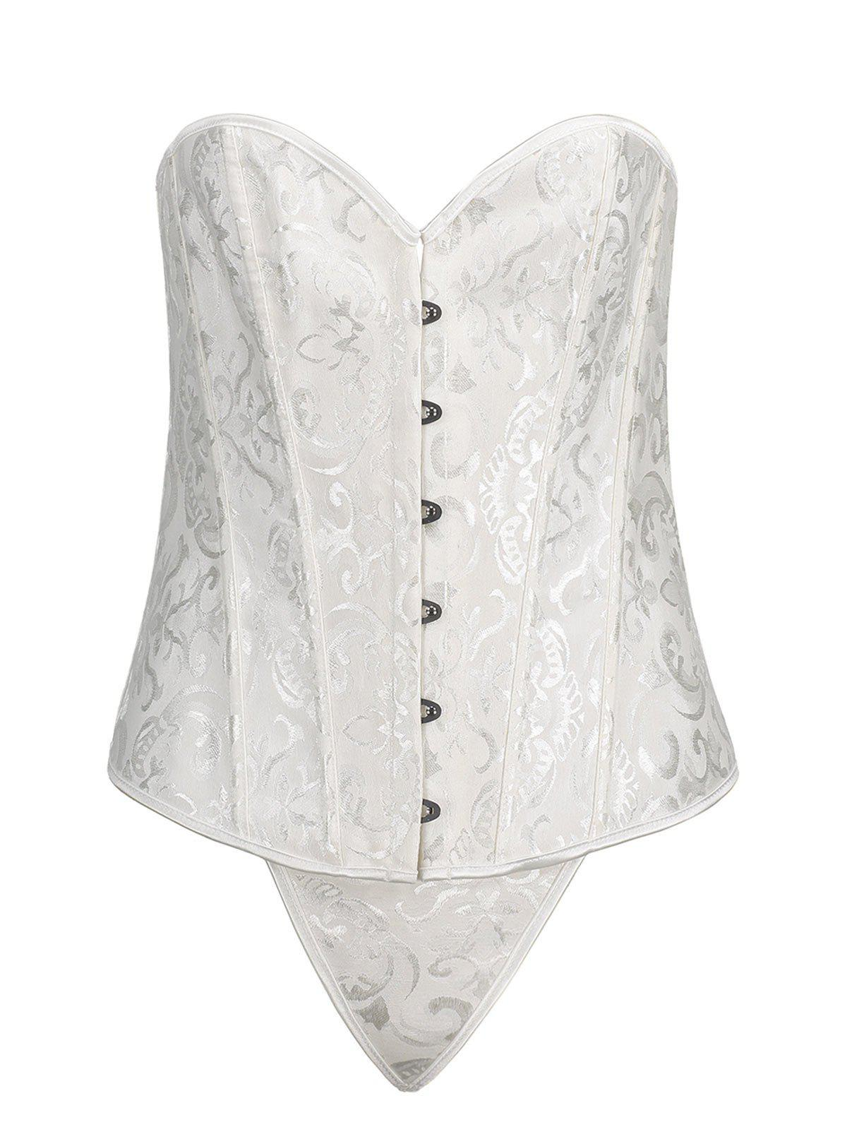 Brocade Steel Boned Plus Size CorsetWOMEN<br><br>Size: 3XL; Color: WHITE; Material: Polyester,Spandex; Pattern Type: Solid; Embellishment: Criss-Cross; Weight: 0.2600kg; Package Contents: 1 x Corset  1 x T Back;
