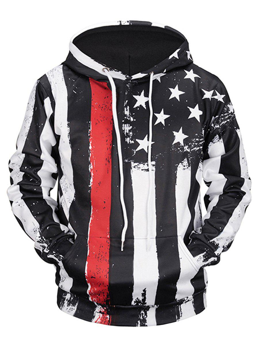Kangaroo Pocket Star and Stripe HoodieMEN<br><br>Size: XL; Color: COLORMIX; Material: Polyester; Clothes Type: Hoodie; Shirt Length: Regular; Sleeve Length: Full; Style: Casual; Patterns: Stripe; Thickness: Regular; Occasion: Casual; Weight: 0.5300kg; Package Contents: 1 x Hoodie;