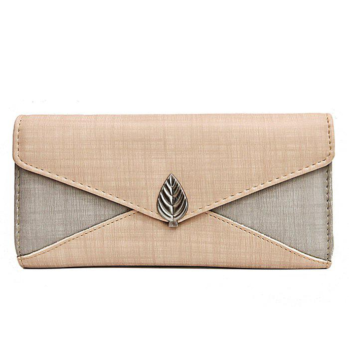 Unique Metal Leaf Contrasting Color  Wallet With Chain
