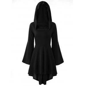 High Low Flare Sleeve Hooded Lace-up Gothic Dress -