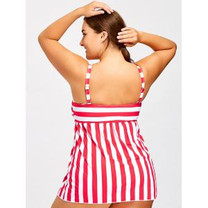 Striped Padded Tankini Top with Thong -