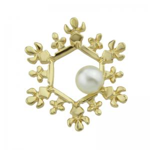 Faux Pearl Christmas Hexagon Snowflake Brooch -