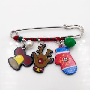 Christmas Snowman Deer Moon Bell Glove Brooch -