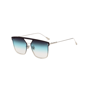 Vintage Crossbar Embellished Metal Full Frame Sunglasses -