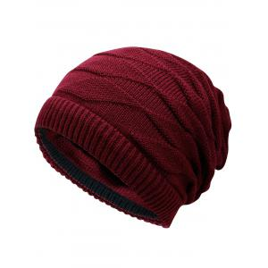 Outdoor Ponytail Hole Embellished Reversible Knit Beanie Hat -