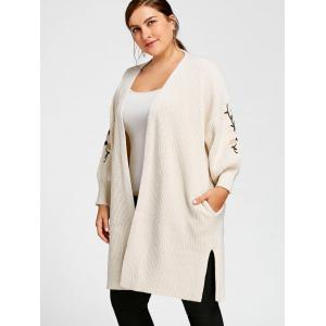 Off White Xl Plus Size Lantern Sleeve Embroidered Long Sweater ...