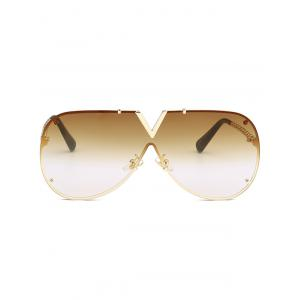Vintage V Shape Metal Frame One Piece Lens Sunglasses -
