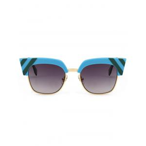 Retro Round Metallic Spliced Cat Eye Sunglasses -