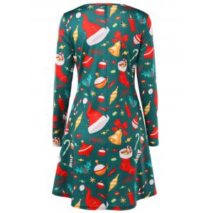 Christmas Graphic Long Sleeve Flare Dress -