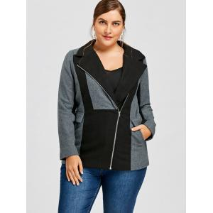 Plus Size Lapel Collar Zippered Color Block Jacket -