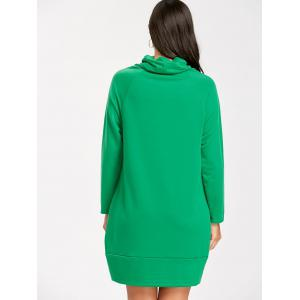 Raglan Sleeve Cowl Neck Christmas Sweatshirt Dress -