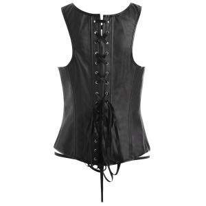 Plus Size Faux Leather Lace Up Zipper Corset -