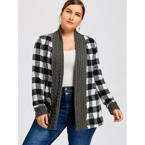 Plus Size Plaid Long Sleeve Shawl Collar Cardigan -