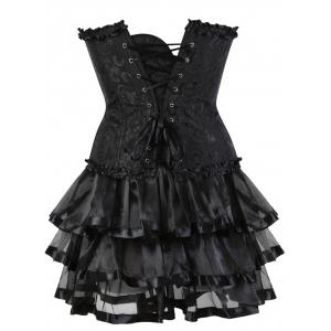 Flounce Two Piece Steel Boned Corset Dress -