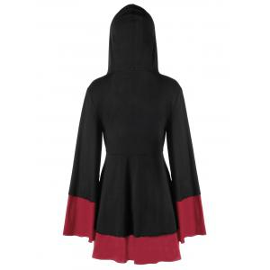 Plus Size Overlap Two Tone Hooded Top -