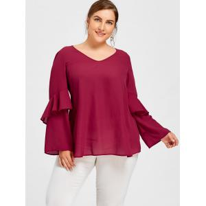 Plus Size Open Back Flounced Layered Sleeve Blouse -