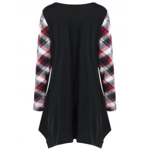 Plus Size Plaid Trim Tunic Top -