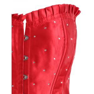 Plus Size Lace Up Rhinestone Corset -