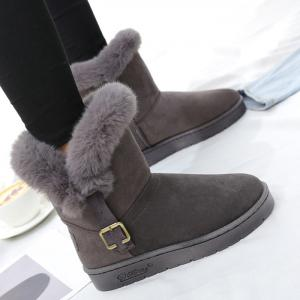 Buckled Faux Fur Suede Slip On Snow Boots -