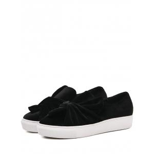 Cross Twist Front Velvet Slip sur des baskets -